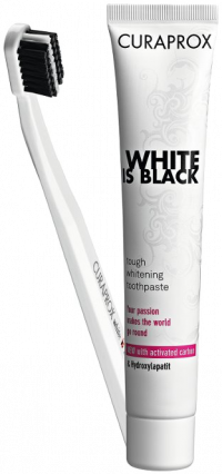 CURAPROX White is Black Kohlezahnpasta mild+Bürste